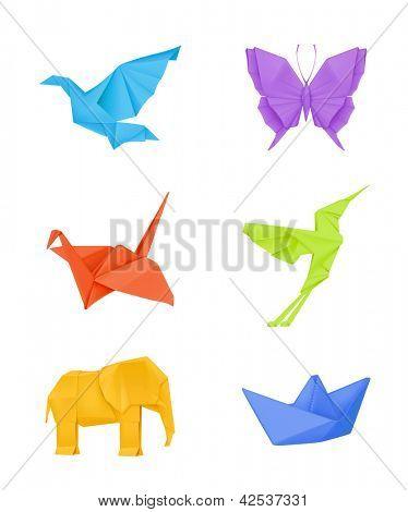 Origami set, multicolored bitmap copy
