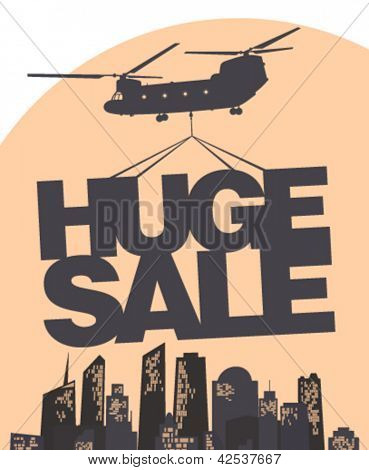 Huge sale carried by a helicopter above the city. Vector design template.