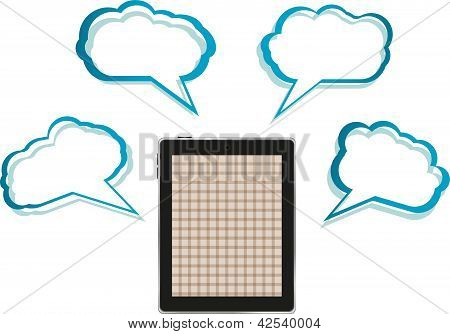 Cloud-computing Connection On The Digital Tablet Pc. Conceptual Image. Isolated On White