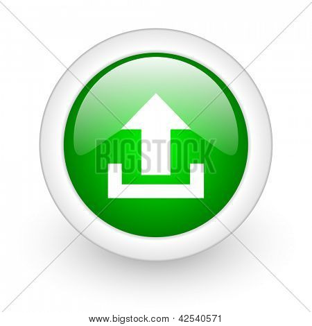 upload green circle glossy web icon on white background