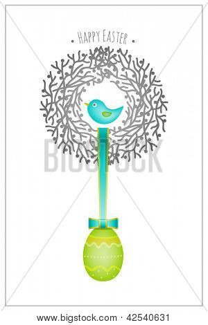 Easter card, bird nest and egg, vector graphic design