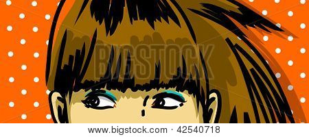 pensive woman peeking vector drawing, retro polka dots background