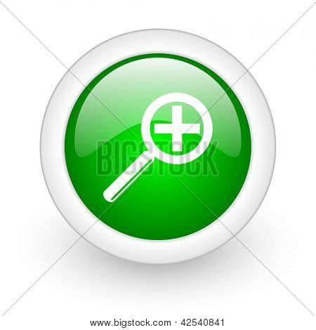 magnification green circle glossy web icon on white background