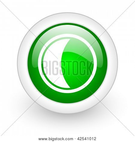 moon green circle glossy web icon on white background