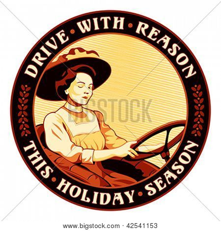 Retro driving sticker with winking woman and safety slogan