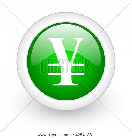 yen green circle glossy web icon on white background