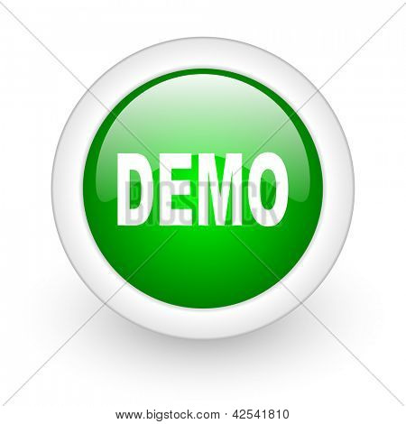 demo green circle glossy web icon on white background