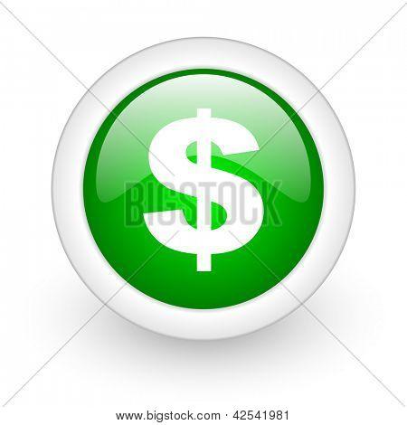 us dollar green circle glossy web icon on white background