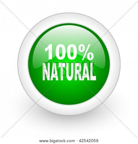 natural green circle glossy web icon on white background