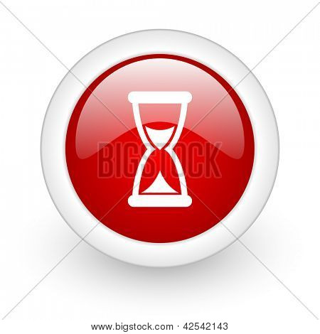 time red circle glossy web icon on white background