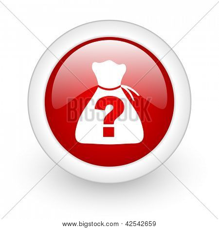 riddle red circle glossy web icon on white background