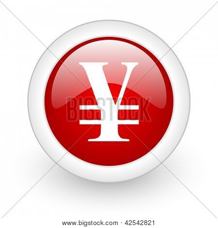 yen red circle glossy web icon on white background