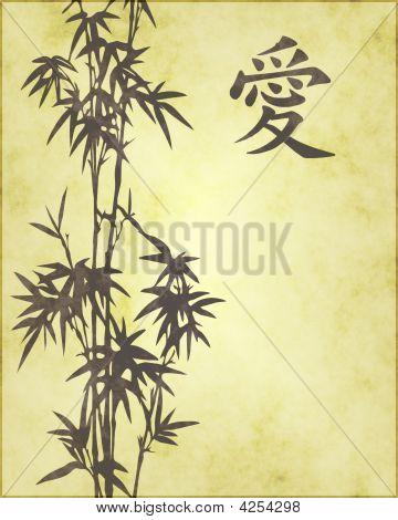 Faded Kanji Love Symbol With Bamboo