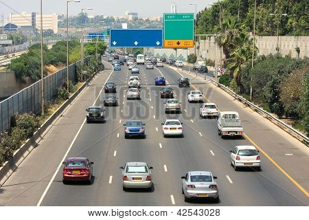 Traffic flow on freeway during rush hour in Tel Aviv, Israel.