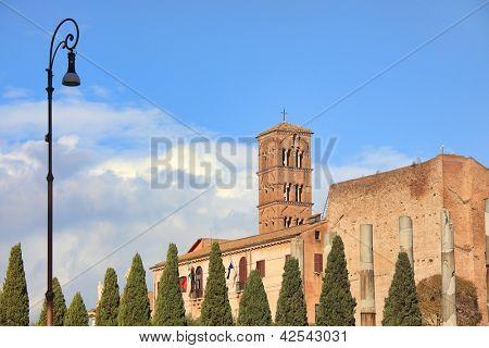 Santa Francesca Romana church and ancient columns in Rome, Italy.