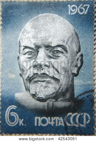 RUSSIA - CIRCA 1967: stamp printed by USSR shows the sculpture portrait socialist lider Lenin