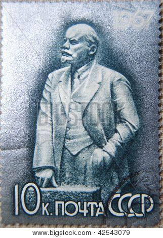 RUSSIA - CIRCA 1967: stamp printed by USSR shows Sculpture portrait of Socialist leader Lenin