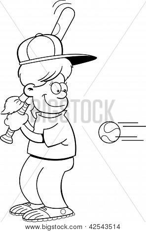 Cartoon girl hitting a baseball