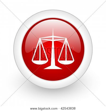 justice red circle glossy web icon on white background