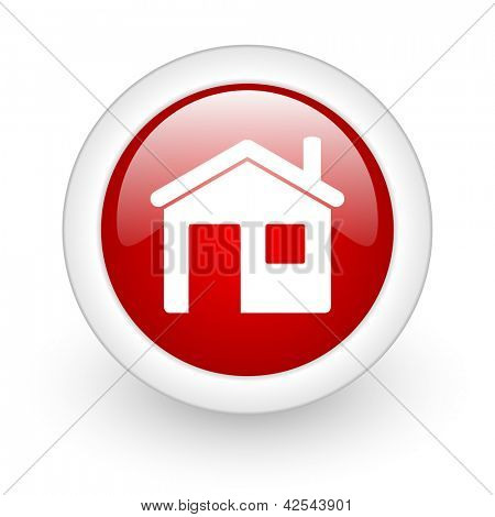 home red circle glossy web icon on white background