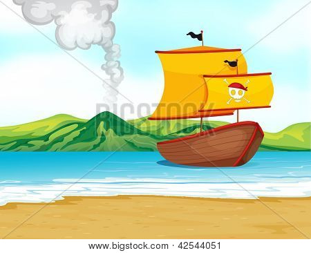 Illustration of a ship of a pirate