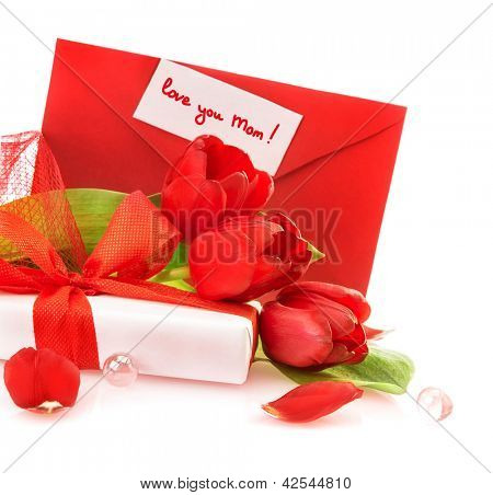 Picture of beautiful red tulip bouquet and white gift box for mother isolated on white background, greeting postcard, love you mom, mothers day, spring season, surprise for holiday, love concept