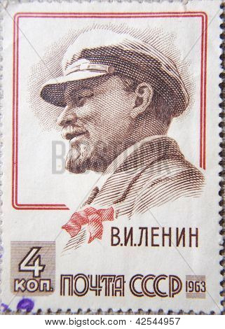 RUSSIA - CIRCA 1963: stamps printed by USSR in 1963 shows portrait of Socialist leader Lenin