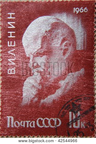 RUSSIA - CIRCA 1966: stamps printed by USSR in 1966 shows portrait of Socialist leader Lenin