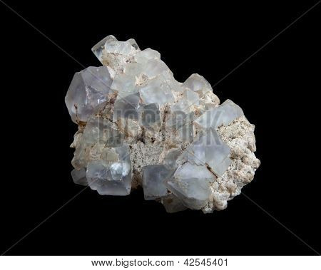 White Calcite Crystals On Purple Fluorite