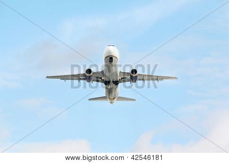 MOSCOW - SEP 22: Airbus A320 in sky on Sep 22, 2011 in Moscow, Russia.  Airbus A320 aircraft developed by European consortium Airbus SAS�».