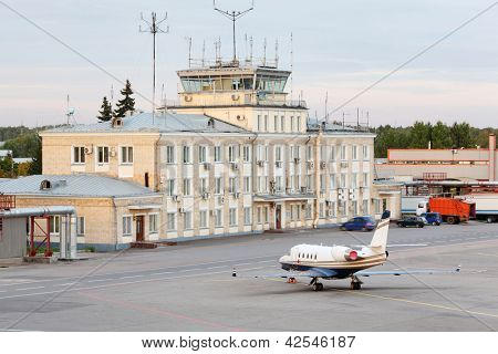 MOSCOW - SEP 22: Airliner stands near building in Sheremetyevo, Sep 22, 2011 in Moscow, Russia. By 2015, Sheremetyevo aims to become best airport in Europe for quality of passenger service.