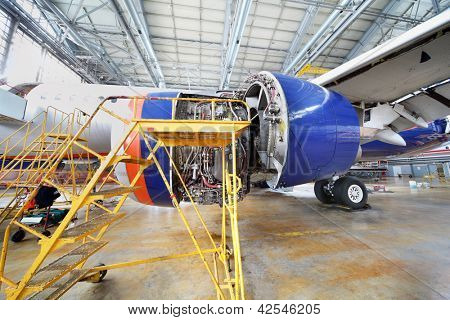 MOSCOW - SEP 22: Dismantled turbine of repairing Aeroflot aircraft in hangar of Sheremetyevo airport on Sep 22, 2011 in Moscow, Russia. Photo taken during annual spotting at Sheremetyevo.