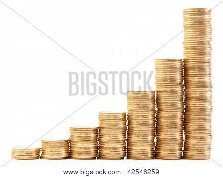 The schedule of the coins isolated on white background