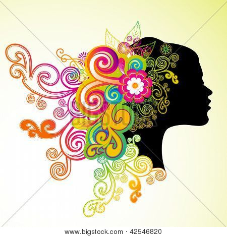 Happy Women's Day greeting card or background with a blue silhouette  of a women with floral decorative hairs.