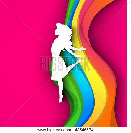 Happy Women's Day greeting card or background with a white silhouette of a happy girl on colorful waves and pink background.