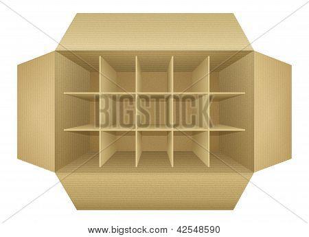 Open Empty Corrugated Cardboard Packaging Box