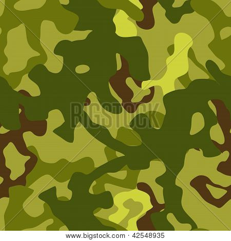 Military woodland green camouflage seamless pattern, vector
