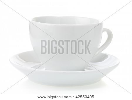 empty ceramic cup isolated on white background