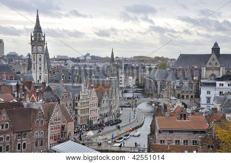 Medieval City Of Gent (ghent) Aerial View, Belgium