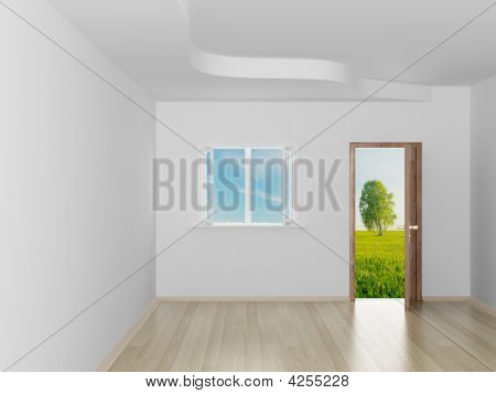 Empty Room. Landscape Behind The Open Door. 3D Image