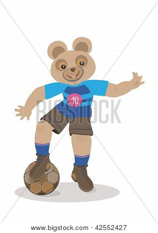 Bear holds the ball with his foot