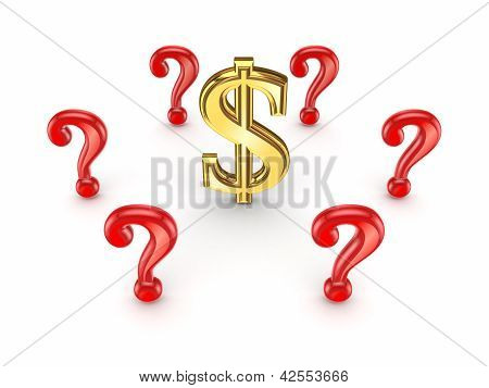Red query marks around dollar sign.