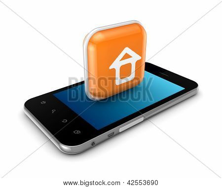Mobile phone with icon of small house.