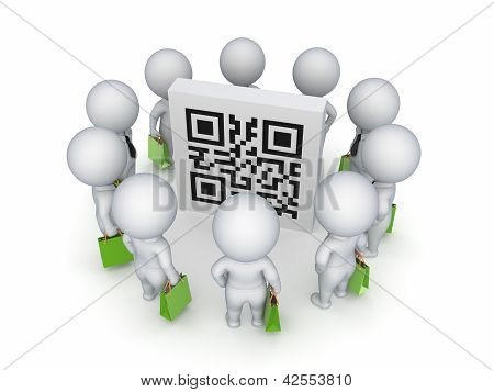 3d small people with green bags around QR code.