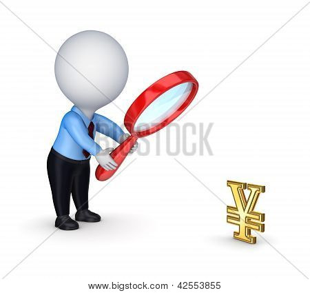 3d small person with red loupe and dollar symbol.