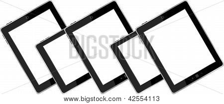 Set Of Blank Generic Tablet Pc With Blank Screen