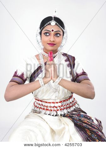 Indian Traditional Female Bharathanatyam Dancer