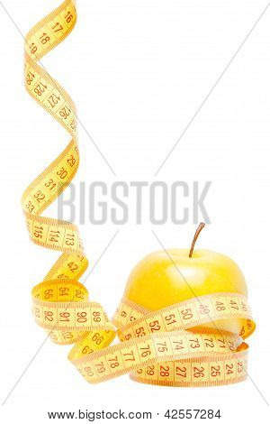 An Apple With Tape Measure And Space For Text