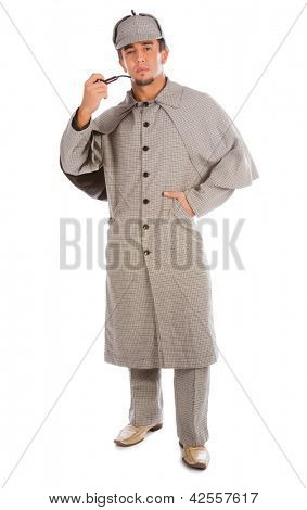 Sherlock Holmes with pipe isolated on white