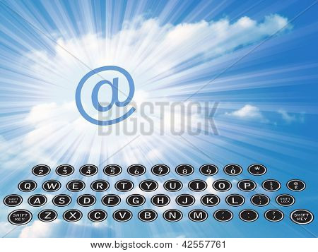 Old typewriter keys with email symbol in sky